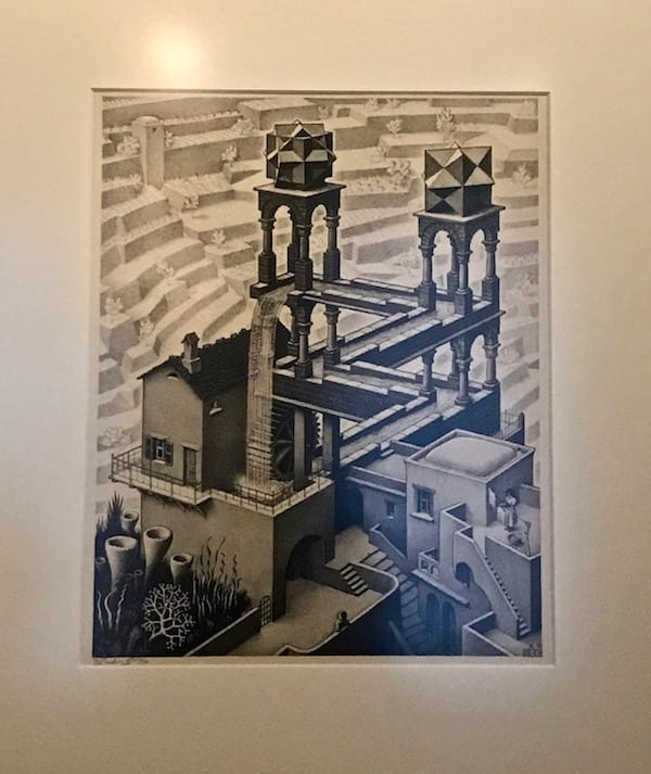Escher Perpetual Motion Water Wheel lithograph displayed in Escher en het Paleis Museum | Dutch artist | Museums in the Hague | Art gallery in Den Haag