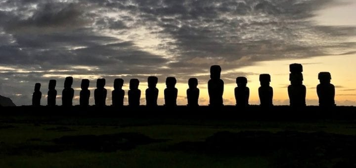 'Ahu Tongariki: Sunrise over the Easter Island Heads' travelogue on slow travel blog Teja on the Horizon | moai ceremonial altars of Rapa Nui | Ahu Tongariki silhouette against the dawn sky | Rapa Nui National Park, Chile | Easter Island sunrise